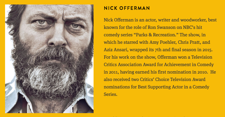 I am hosting for Nick Offerman!